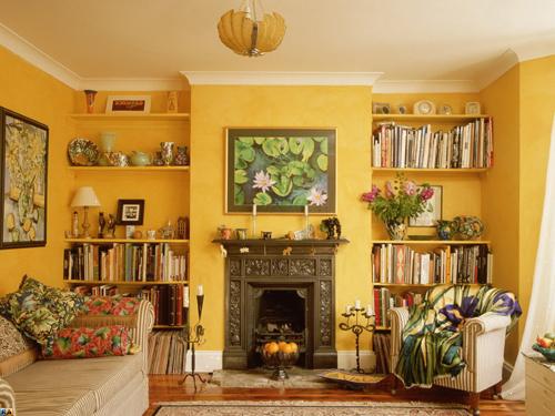 Жёлтый цвет в интерьере гостиной фото