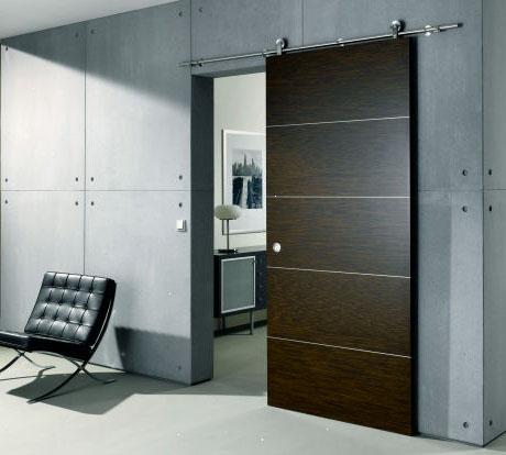 Современная коричневая межкомнатная раздвижная дверь фото