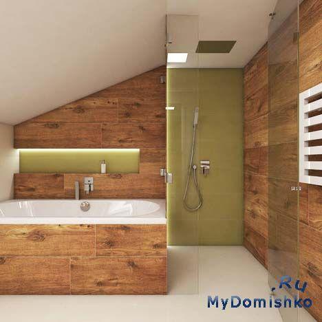 Фото Одной из тенденций является использование в современных ваннах душа, установленного на потолке или на отдаленной стене